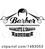 Clipart Of A Black And White Hair Scissors Barber Haircuts And Shaves Design Royalty Free Vector Illustration