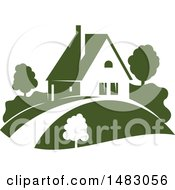 Clipart Of A Green Home And Yard Design Royalty Free Vector Illustration by Vector Tradition SM