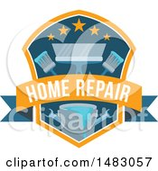 Clipart Of A Painting Shield Design Royalty Free Vector Illustration