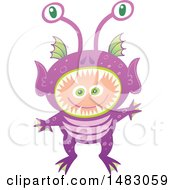 Clipart Of A Boy In An Alien Halloween Costume Royalty Free Vector Illustration by Zooco