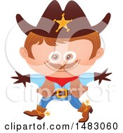 Clipart Of A Boy In A Cowboy Sheriff Halloween Costume Royalty Free Vector Illustration