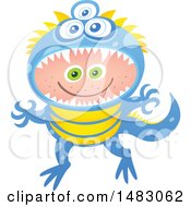 Clipart Of A Boy In A Monster Halloween Costume Royalty Free Vector Illustration by Zooco