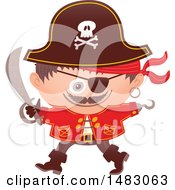 Clipart Of A Boy In A Pirate Halloween Costume Royalty Free Vector Illustration