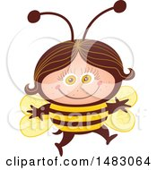 Clipart Of A Girl In A Bee Halloween Costume Royalty Free Vector Illustration
