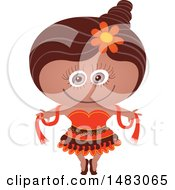 Clipart Of A Girl In A Dancer Halloween Costume Royalty Free Vector Illustration by Zooco