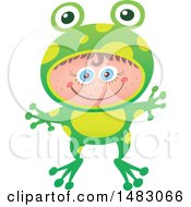 Clipart Of A Girl In A Frog Halloween Costume Royalty Free Vector Illustration