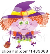 Clipart Of A Girl In A Witch Halloween Costume Royalty Free Vector Illustration by Zooco
