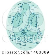 Clipart Of A Sketched Buddha In A Lotus Pose Royalty Free Vector Illustration