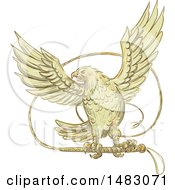 Clipart Of A Sketched Eagle With A Bullwhip Royalty Free Vector Illustration