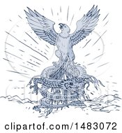 Clipart Of A Sketched Eagle Flying Over A Coiled Dragon Royalty Free Vector Illustration by patrimonio