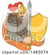 Clipart Of A Sketched Medieval Knight Holdig A Sword And Shield Royalty Free Vector Illustration