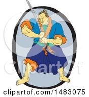 Sketched Samurai Warrior Holding A Katana In An Oval