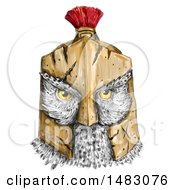 Clipart Of An Owl Head Wearing A Spartan Helmet In Sketched Tattoo Style Royalty Free Illustration by patrimonio