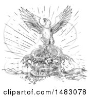 Clipart Of A Phoenix Or Eagle Escaping A Coiling Dragon In Sketched Tattoo Style Royalty Free Illustration by patrimonio
