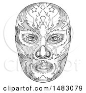 Clipart Of A Luchador Mask In Sketched Tattoo Style Royalty Free Illustration by patrimonio