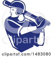 Clipart Of A Blue And White Batting Baseball Player Royalty Free Vector Illustration