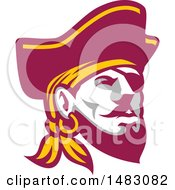 Clipart Of A Buccaneer Pirate Face With An Eye Patch Royalty Free Vector Illustration