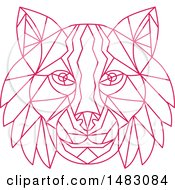 Clipart Of A Pink Line Art Bobcat Lynx Head Royalty Free Vector Illustration by patrimonio