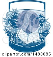 Clipart Of A Globe With Rhododendron Flowers And An Open Book In A Crest Royalty Free Vector Illustration by patrimonio