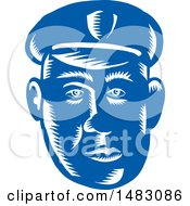Blue Woodcut Police Mans Face
