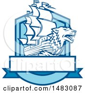 Clipart Of A Galleon Ship With A Wolf Head Bow In A Crest Royalty Free Vector Illustration