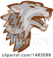 Clipart Of A Gray Wolf Head Royalty Free Vector Illustration