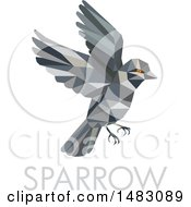 Clipart Of A Flying Sparrow Bird In Low Poly Style Over Text Royalty Free Vector Illustration