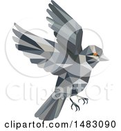 Clipart Of A Flying Sparrow Bird In Low Poly Style Royalty Free Vector Illustration