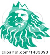Clipart Of A Sea Green Head Of Triton Royalty Free Vector Illustration