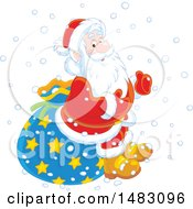 Clipart Of A Christmas Santa Claus Sitting On A Sack In The Snow Royalty Free Vector Illustration