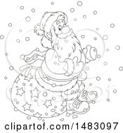 Black And White Christmas Santa Claus Sitting On A Sack In The Snow