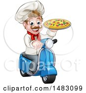 Happy Pizza Delivery Chef Holding Up A Pie On A Scooter
