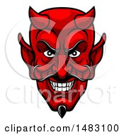 Clipart Of A Grinning Evil Red Devil Face Royalty Free Vector Illustration by AtStockIllustration