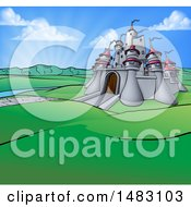 Clipart Of A Cartoon Castle In A Hilly Landscape At Sunrise Royalty Free Vector Illustration