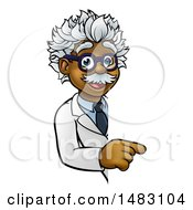 Clipart Of A Cartoon Black Male Scientist Pointing Down Around A Sign Royalty Free Vector Illustration by AtStockIllustration