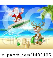 Clipart Of A Happy Rudolph Red Nosed Reindeer Making A Sand Castle And Santa Surfing Royalty Free Vector Illustration by AtStockIllustration