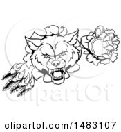 Clipart Of A Black And White Ferocious Wolf Slashing Through A Wall With A Tennis Ball Royalty Free Vector Illustration