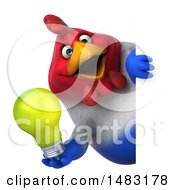 Poster, Art Print Of 3d Chubby French Chicken On A White Background