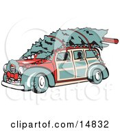 Red Woodie Car Carrying A Christmas Tree On The Roof Decorated In Christmas Lights And A Wreath Retro Clipart Illustration