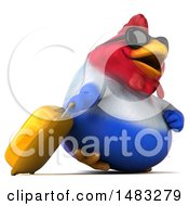 3d Chubby French Chicken On A White Background