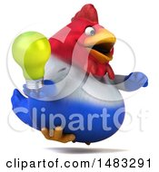 Poster, Art Print Of 3d Chubby French Chicken Holding A Light Bulb On A White Background