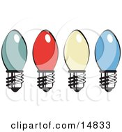 Four Colorful Christmas Lightbulbs Retro Clipart Illustration