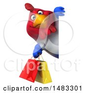 3d Chubby French Chicken Holding Shopping Bags On A White Background