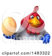 Poster, Art Print Of 3d Chubby French Chicken Holding An Egg Over A Sign  On A White Background