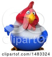 Poster, Art Print Of 3d Chubby French Chicken Holding A Thumb Down On A White Background