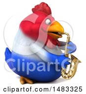 3d Chubby French Chicken Playing A Saxophone On A White Background