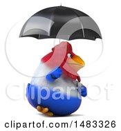 Poster, Art Print Of 3d Chubby French Chicken Holding An Umbrella On A White Background