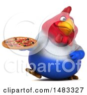 Poster, Art Print Of 3d Chubby French Chicken Holding A Pizza On A White Background
