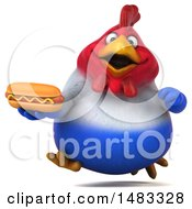 Poster, Art Print Of 3d Chubby French Chicken Holding A Hot Dog On A White Background