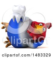 Poster, Art Print Of 3d Chubby French Chicken Holding A Tooth On A White Background
